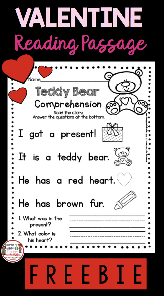 freebie valentine 39 s day reading comprehension passage with questions kindergarten and first. Black Bedroom Furniture Sets. Home Design Ideas