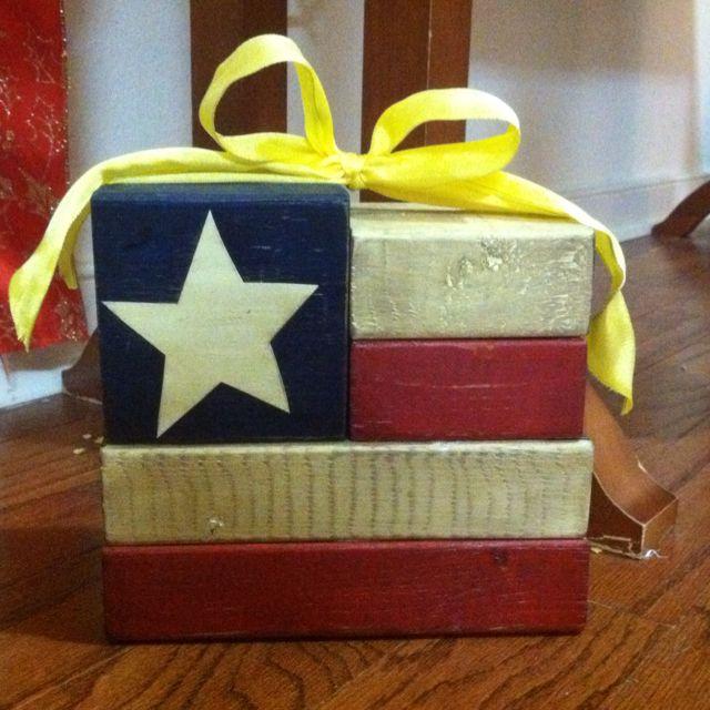 Wooden block Americana flag with yellow ribbon.....loving this soooo much!!!