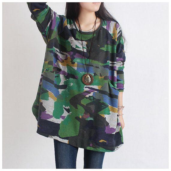 "Fabric; cotton Color; #Orange, green Size Without limiting the Shoulder Shoulder + Sleeve 67cm / 26 "" Bust 125cm / 49 "" Cuff around 19cm / 7.4 "" Length 77m / 30 "" Hips 164cm... #orange #green"