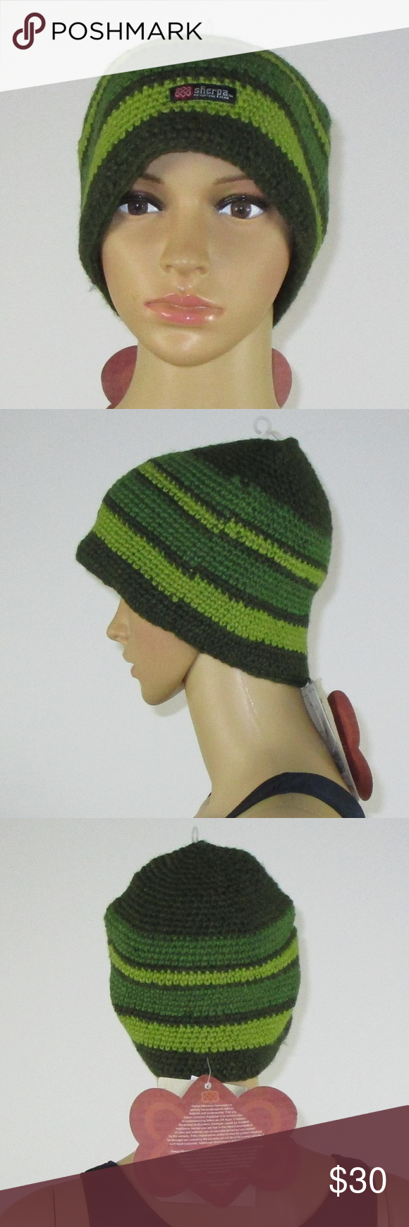 ea6f0921ab7 Sherpa Adventure Gear Green Striped Wool Hat NWT This listing is for a Sherpa  Adventure Gear