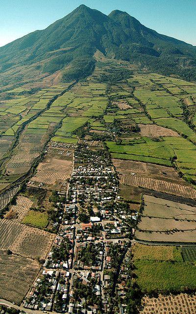 Village on the slopes of Chinchontepec Volcano, El Salvador