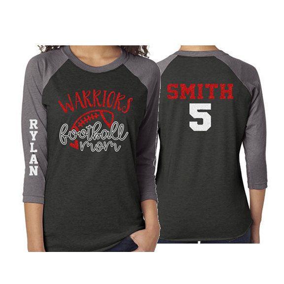 Football Shirt | Glitter Football Mom Shirt | 3/4