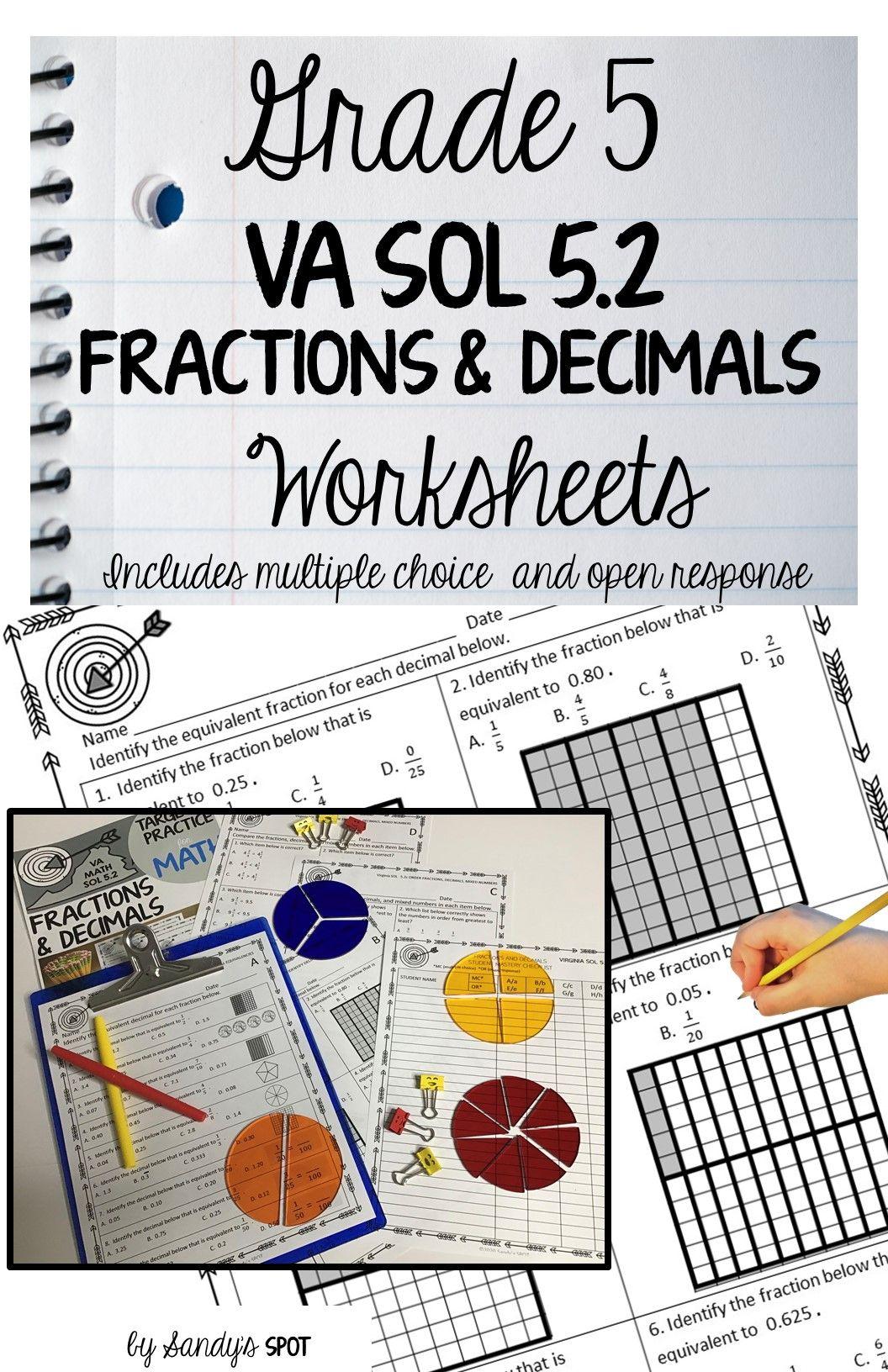 FRACTIONS \u0026 DECIMALS   Fractions worksheets [ 1632 x 1056 Pixel ]