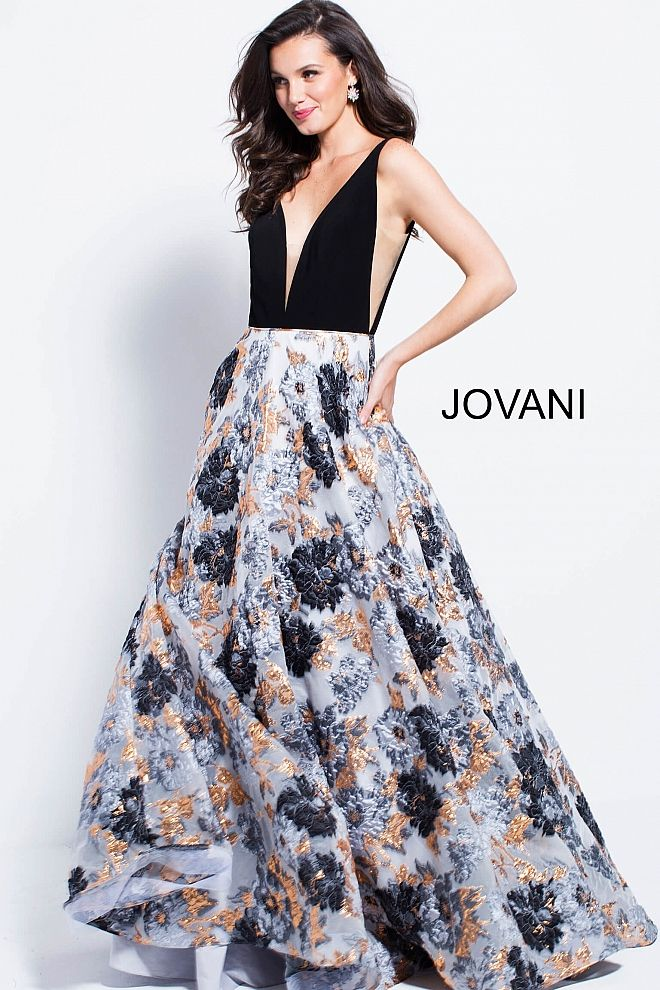 b0c60219f9 Floor length A-line gown features print jaqcuard skirt and black sleeveless  bodice with plunging