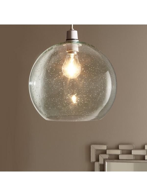 Clear bubble glass pendant shade b22 e14 white metal adaptor included bulb