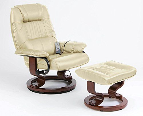Restwell Napoli Swivel Recliner Cream Leather Effect Massage Chair With Round Base Footstool Leather Sofa Recliner Chair