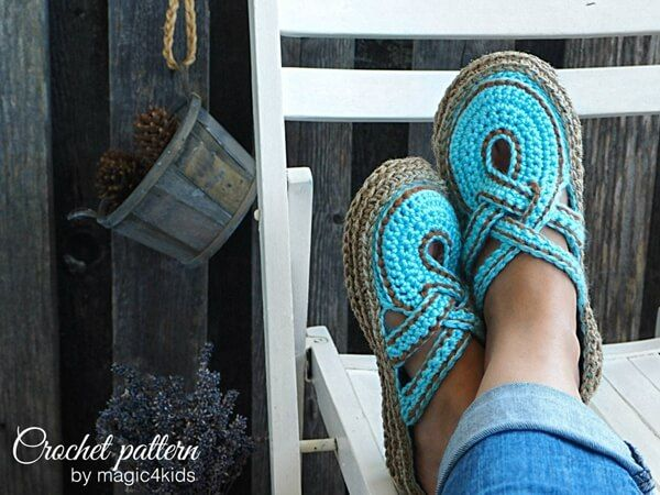 Photo of crochet Women Slippers with Rope Soles pattern