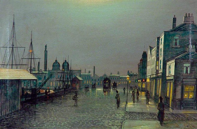 Evening Scene By The Docks Hull By John Atkinson Grimshaw Atkinson Grimshaw Art Uk British Art
