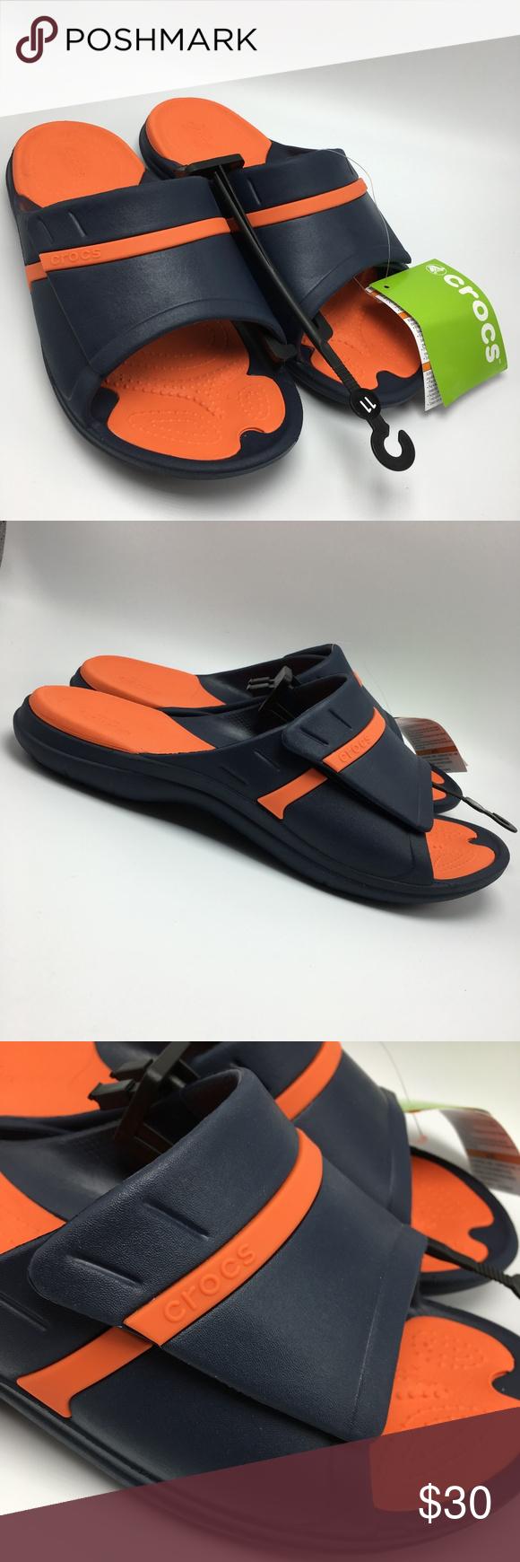 4ad0da884597 Crocs Modi Sport Slide Sandals Navy Tangerine Brand new pair of Crocs men s
