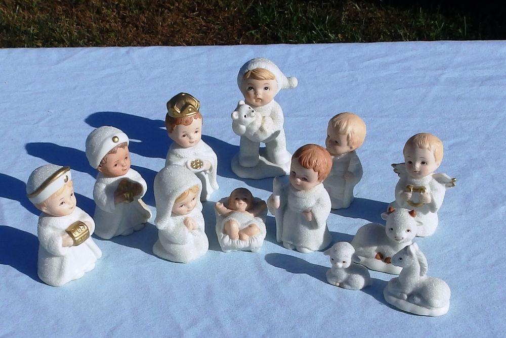 vintage homco snow babies nativity set 12 pieces home interior 5609