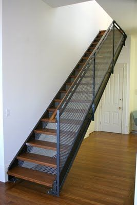 Stairs With Wood Treads And Perforated Steel Risers Modern | Metal Stairs With Wood Treads | Straight Steel | Single Steel Stringer | I Beam | Metal Railing | Timber