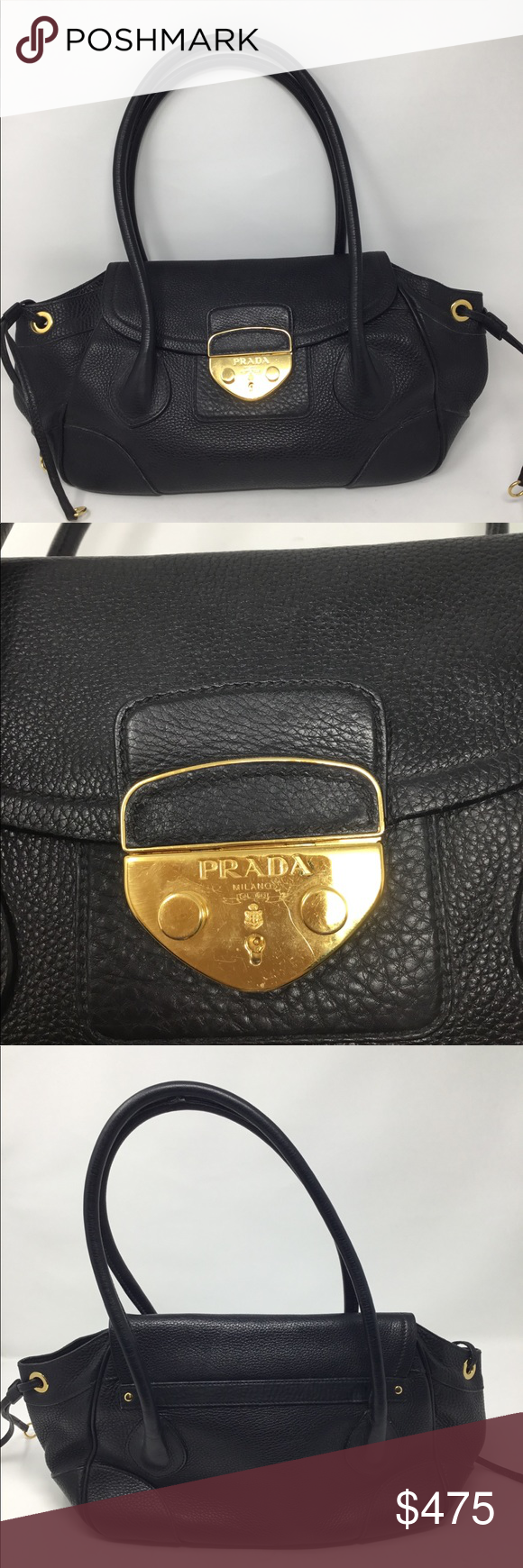 52637aec94 PRADA PEBBLED LEATHER FLAP BAG Black pebbled leather with gold-tone hardware  2 rolled shoulder