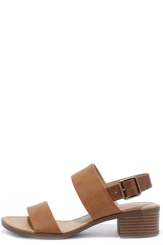 7208453d7b43c A seaside adventure awaits you and the Tulum Trek Tan Heeled Sandals! Matte  tan vegan leather toe strap is accompanied by a matching quarter strap with  ...