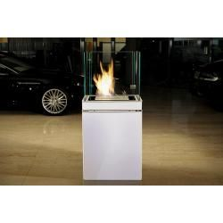 Photo of Radius Design Semi Flame Ethanol Fireplace white / stainless steel matt 3 l combustion chamber Radius Design