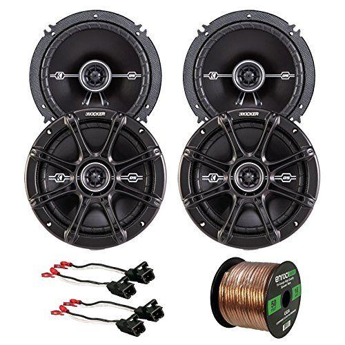 Car Speaker Bundle Combo 2 Pairs of Kicker 43DSC6504 65 Inch 480 Watts 2Way DSeries Black Car Stereo Coaxial Speaker  Metra Speaker Wiring Harness  Enrock 50 Foot 16 Gauge Speaker Wire -- Want additional info? Click on the image.