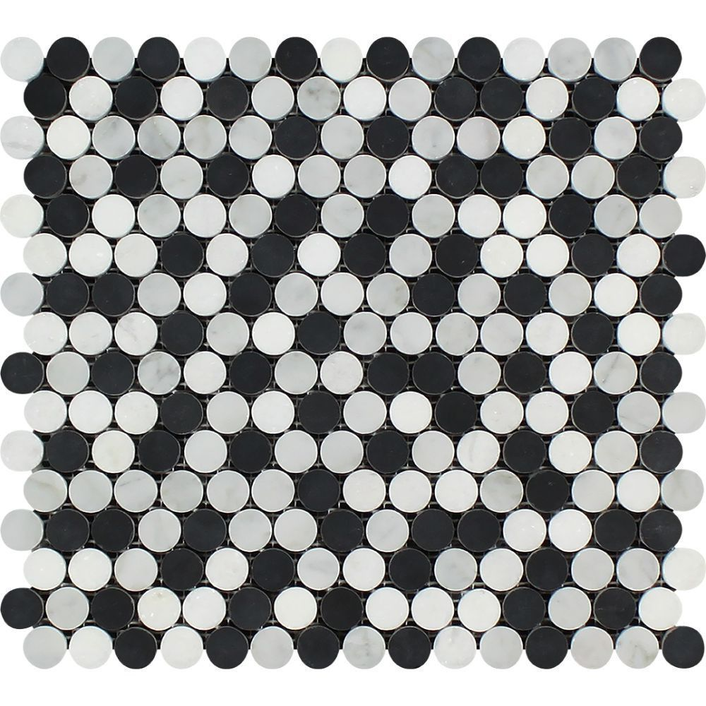 Sku Tw00041p Material Marble Size 12 Quot X 12 Quot Chip Size 3 8 Quot Thickness Polished Finish Mosaic Ti Penny Round Mosaic Penny Round Mosaic Tiles