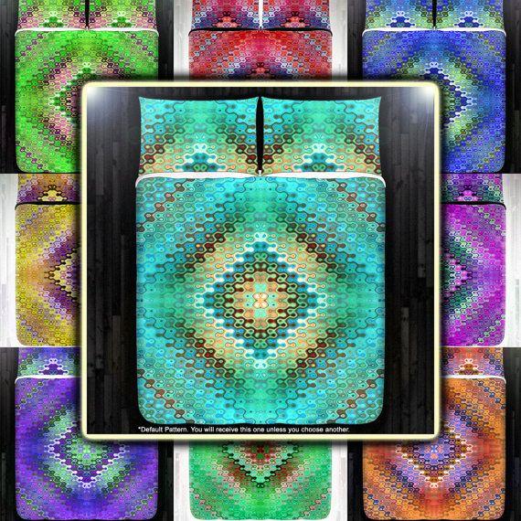 Bohemian Teal Turquoise Mandala Bedding Duvet Cover Queen