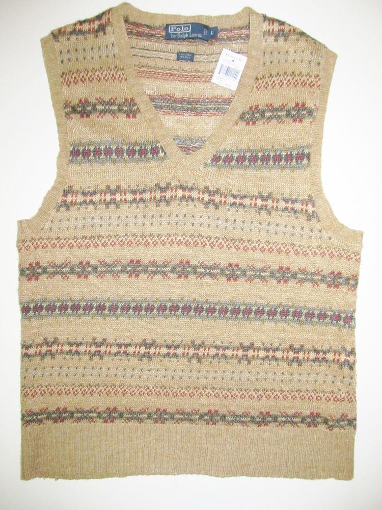NWT Men's RALPH LAUREN POLO Sweater Vest Brown Fair Isle Linen XL ...