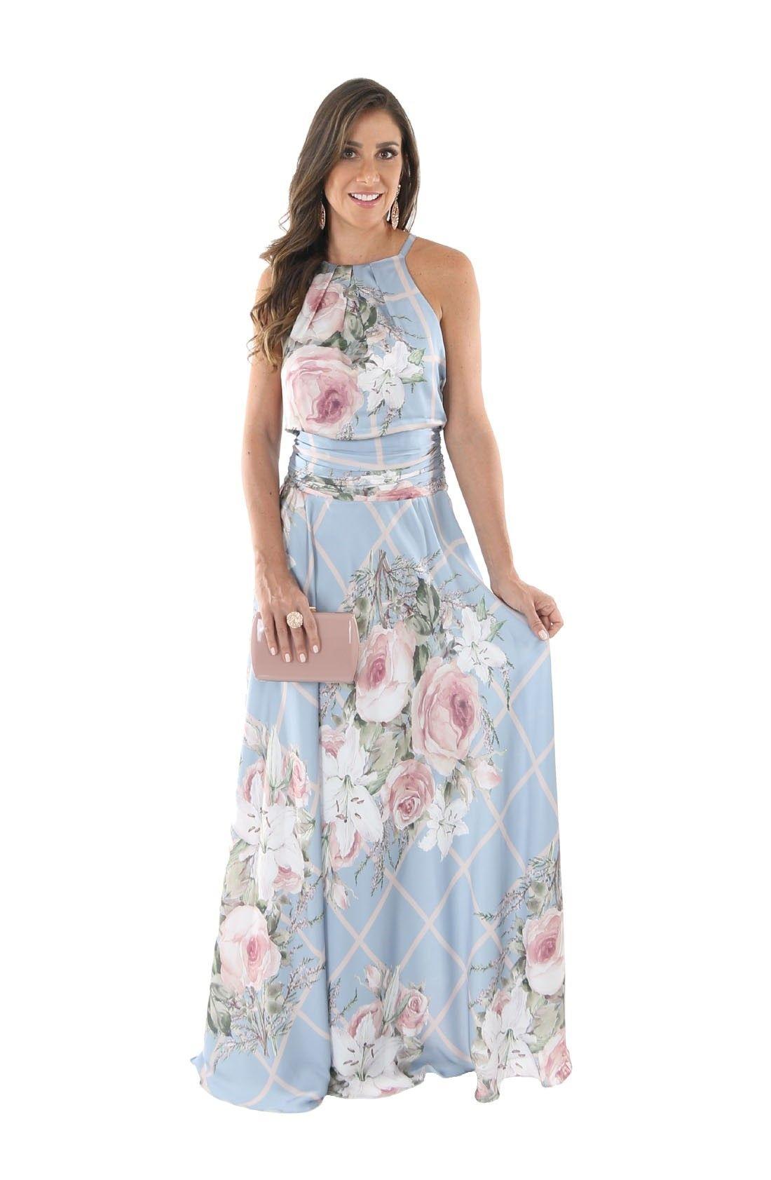 a717f3e388a3 Vestido de Festa Cetim Toque de Seda Blusê Azul » Longo Vestido de Festa  Cetim Toque