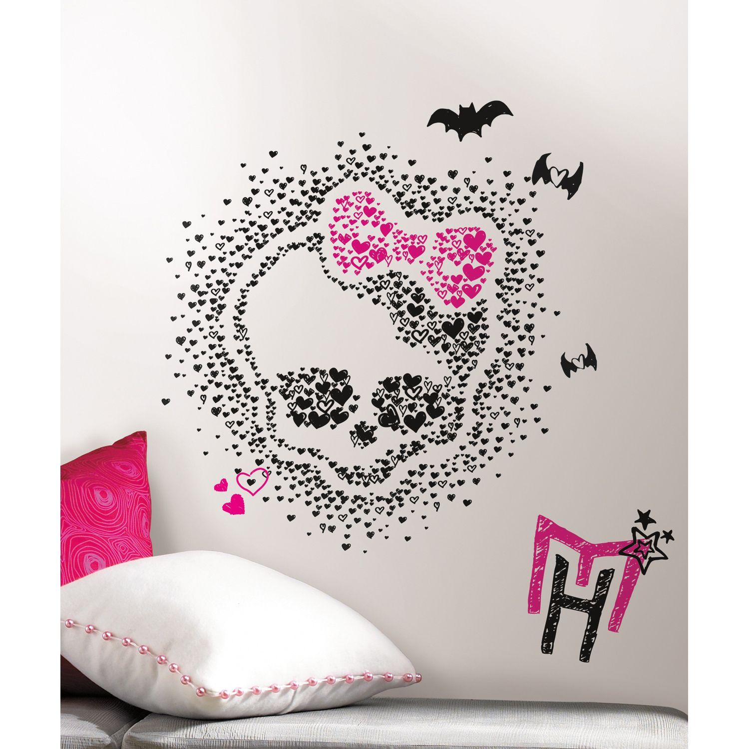 These Spooky And Sweet Black Pink And White Monster High Wall