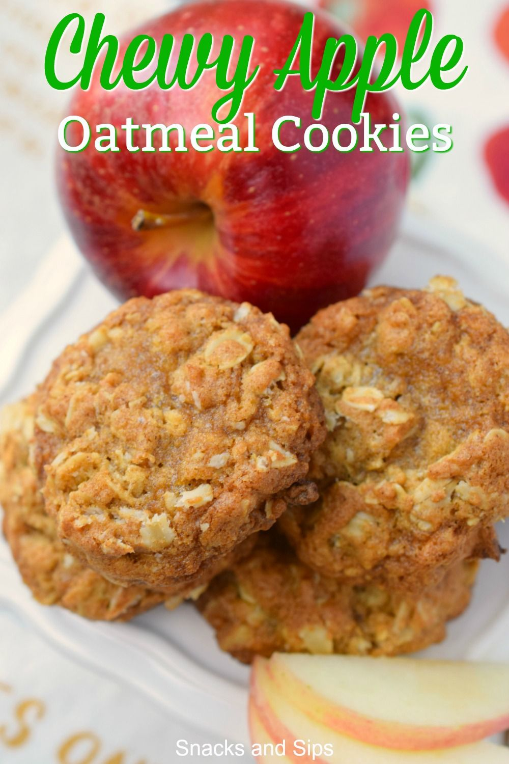 Chewy Apple Oatmeal Cookies Chewy Oatmeal Apple Cookies combine all your favorite flavors in one easy to prepare snack. Perfect after school nack with a glass of milk, you'll love this delicious treat.