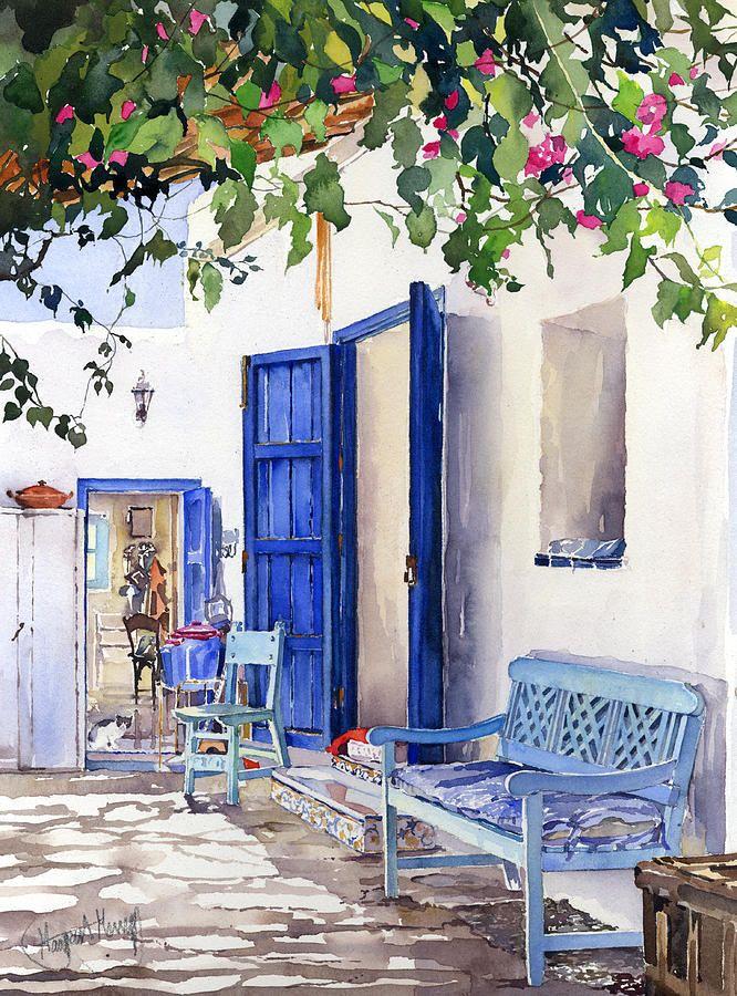 Blue Doors 水彩色鉛筆 イラスト アーバンスケッチ スケッチ