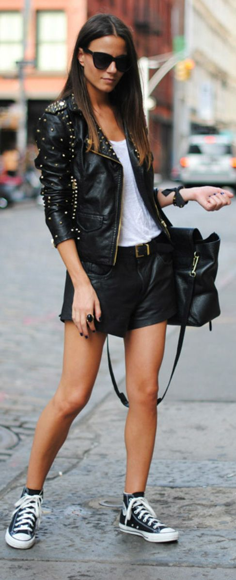 Love the tennis shoes with the black leather