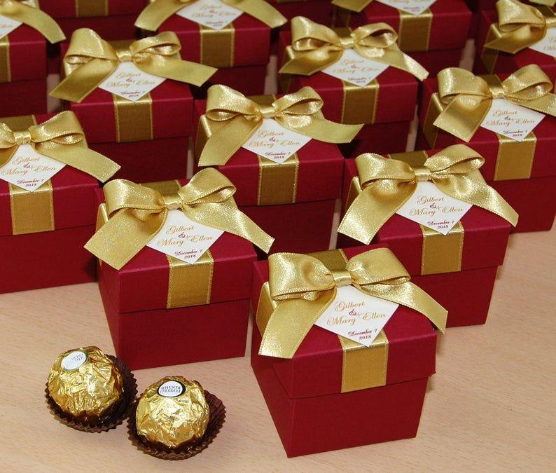 Burgundy & Gold Wedding Bonbonniere Wedding favor box with