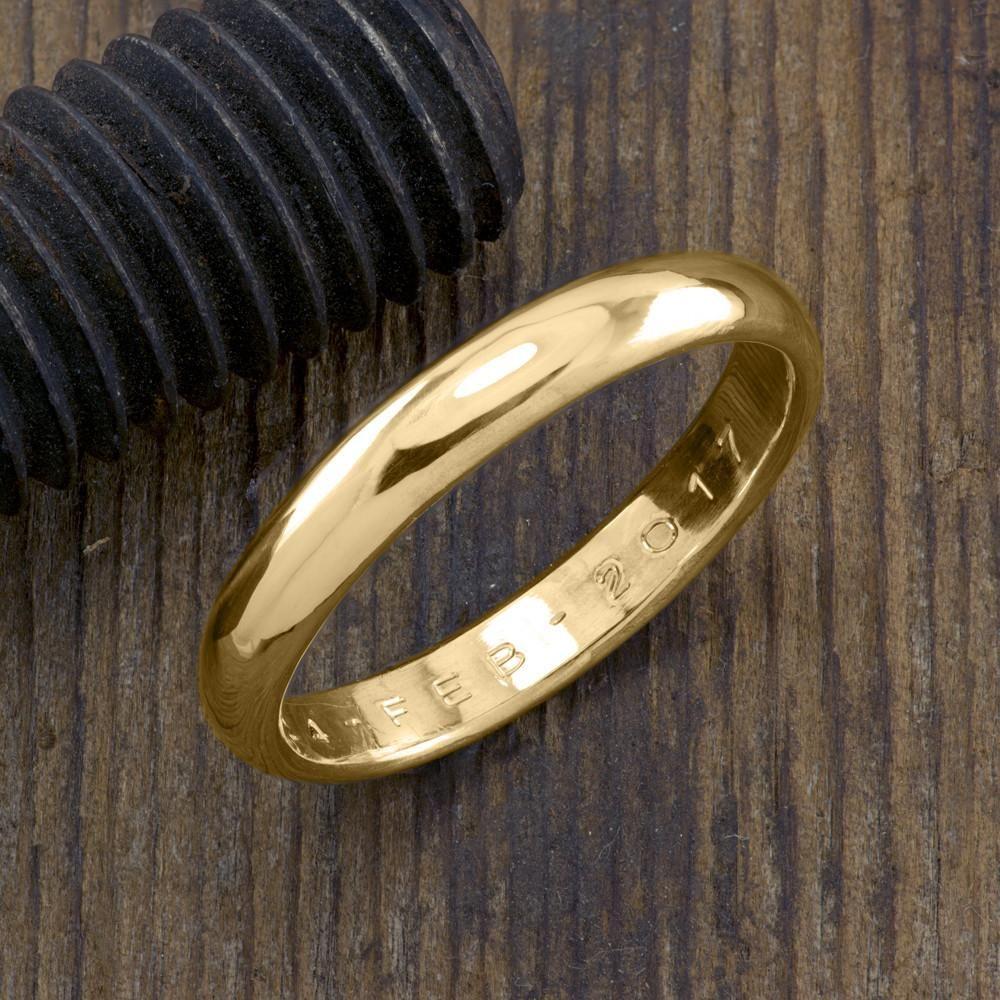 4mm 14k Yellow Gold Mens Wedding Band, Half Round Polished