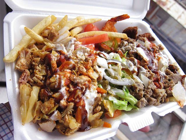 Mixed Chicken And Lamb Rice With White Sauce And Hot Sauce And Fries On The Side Halal Recipes Chicken Over Rice Food
