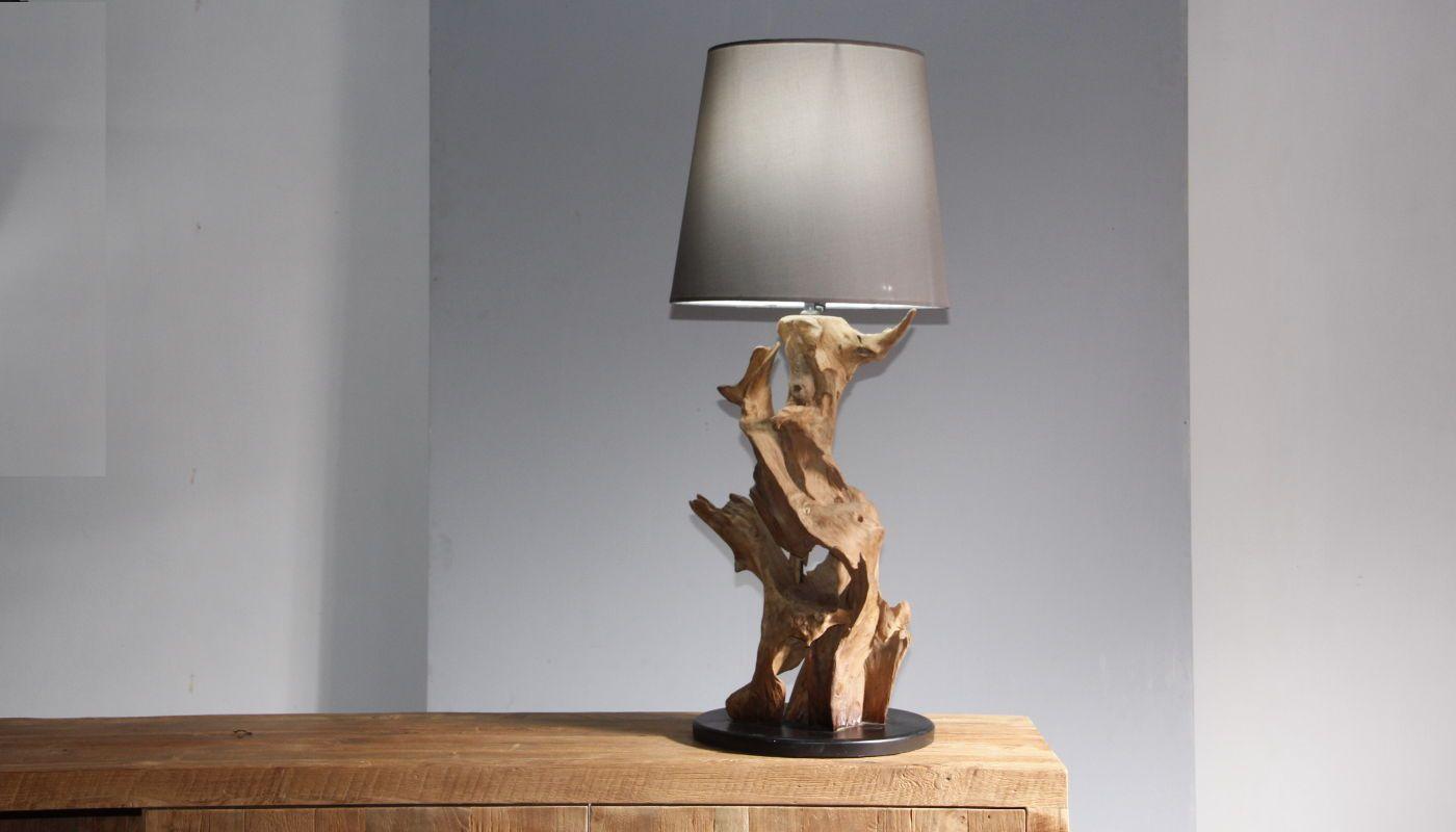 Treibholz Wurzelholz Tischlampe Ikal Hohe 75 Cm Inkl Lampenschirm