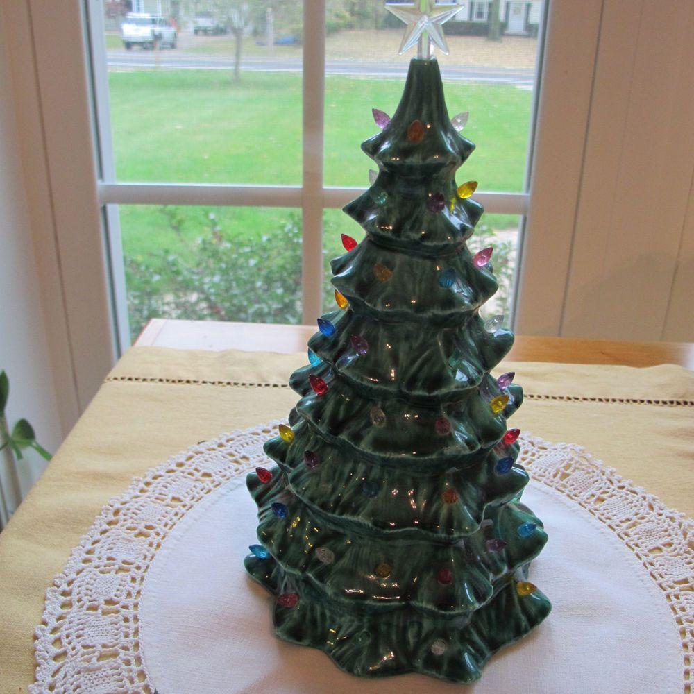 Vintage Christmas Tree w Multi-colored Lights Ceramic 1970\'s. 9 ...