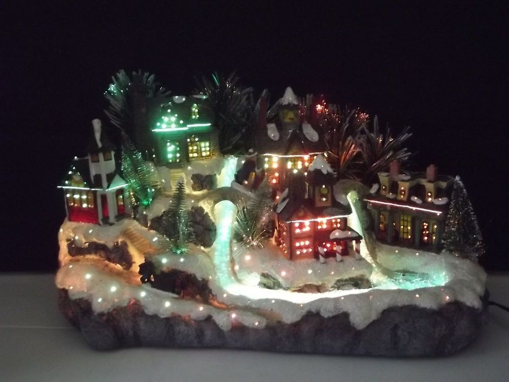 Avon Fiber Optic Color Changing Christmas Village Town with ...