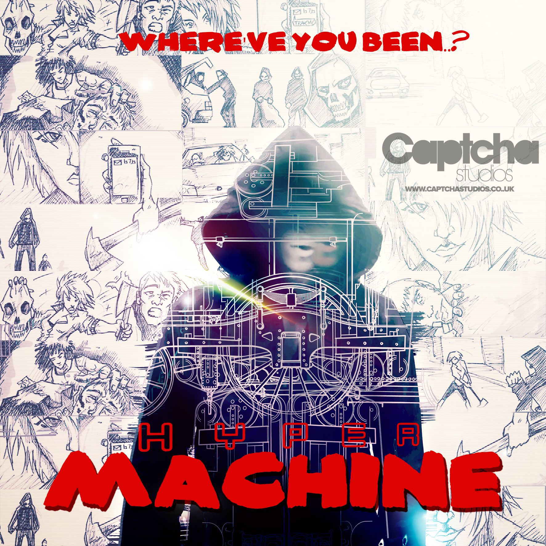 Hyper - Machine (Packshot)  Artwork created for the artist 'Hyper's' single 'Machine'. Including photo used in music video (shot by Captcha Studios) and illustrated storyboard sequence.