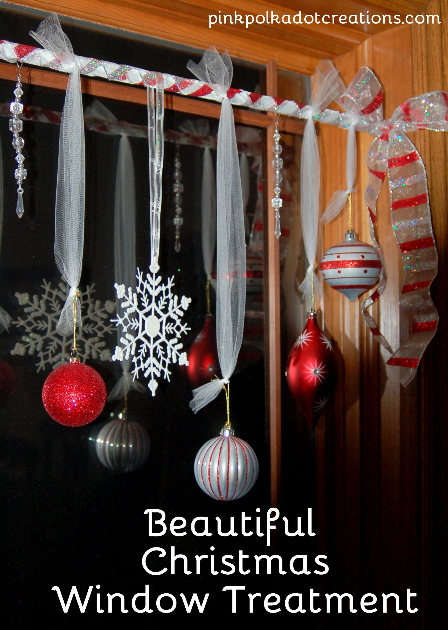 Homes Decorated For Christmas On The Inside pink polka dot creations: beautiful christmas window treatment