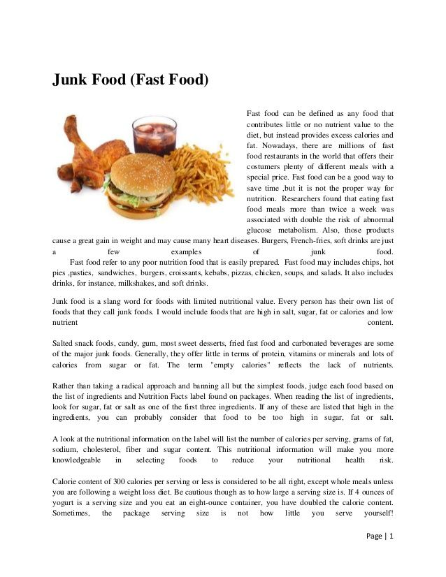 essay about fast food