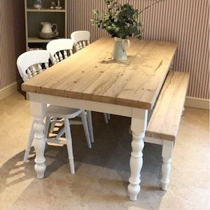 Farmhouse Dining Table With Reclaimed Wood Top and Bench Made   Etsy