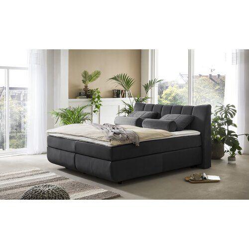 Boxspringbett Aramayis mit Topper ModernMoments Farbe: Dark Grey, Größe: 180 cm B × 200 cm T, Matratzenhärte: H2/H4