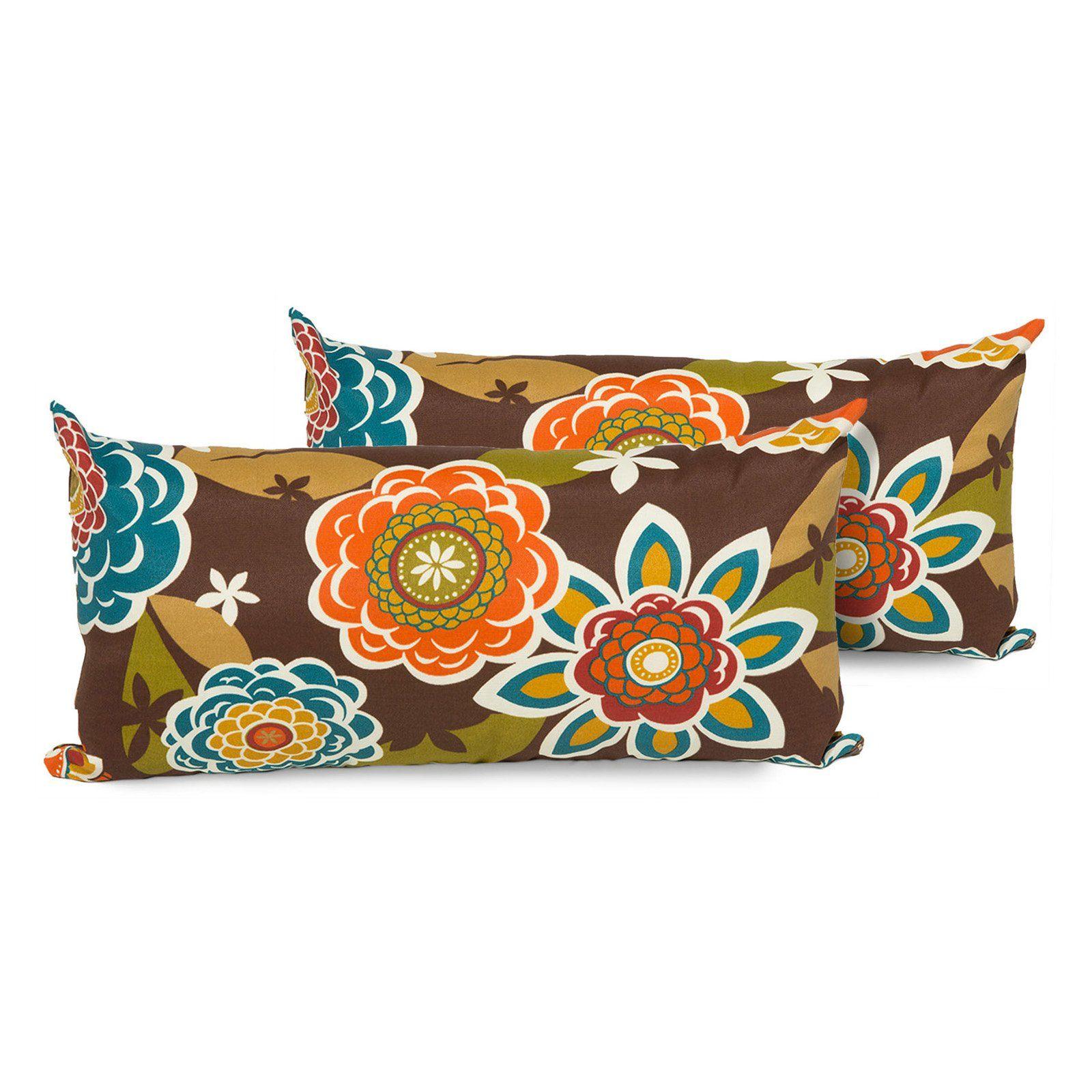 Tk Classics Retro Floral Outdoor Throw Pillows Set Of 2