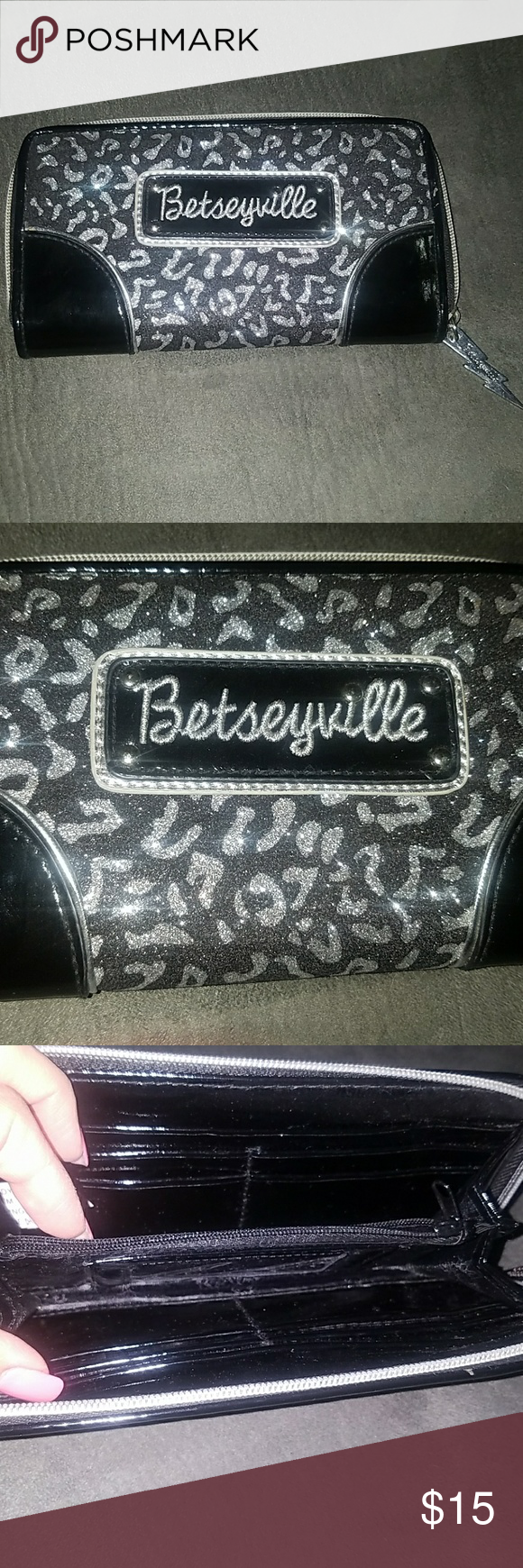 Betsey Johnson wallet Beautiful sparkly black and silver Betsy Johnson wallet. Great condition! Betsey Johnson Bags Wallets