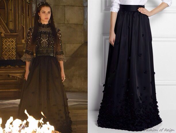 "episode 2x01 ""The Plague""Mary wears this sold out Temperley London Ruffle Appliqued Satin Maxi Skirt. Worn with the Anna Sui top, Alaia belt, Azaara earrings, Gillian Steinhardt labyrinth and signet rings"