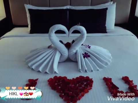 Honeymoon Bed Decoration Example Swan Folding Towel Youtube Bed Decor Romantic Room Decoration Honeymoon Bed