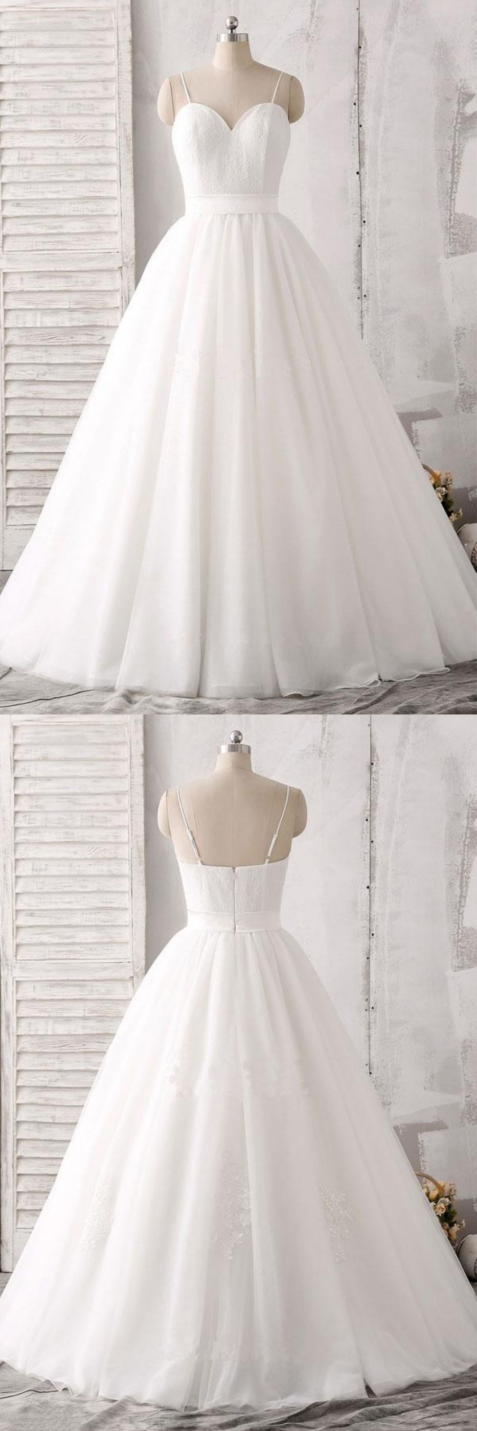 Open back wedding dresses lace  Spaghrtti Straps Floor Length Wedding Gown WD  Dreaming