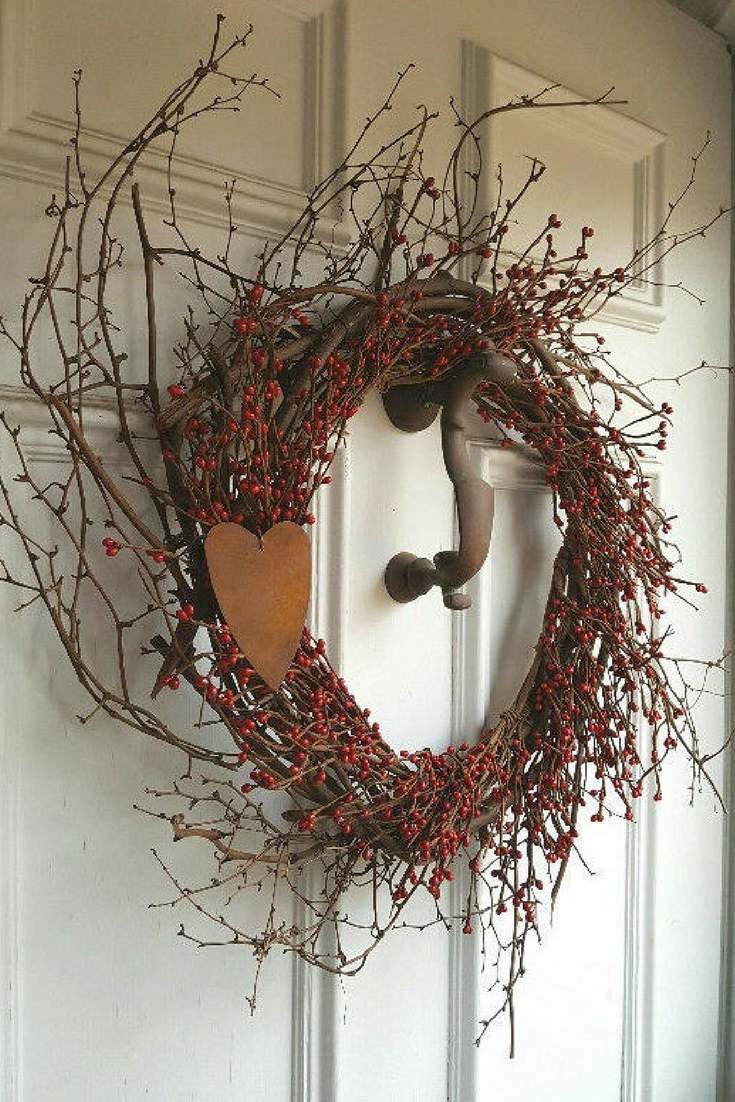 Home interior front rustic farmhouse stye valentine wreath for your front door or home