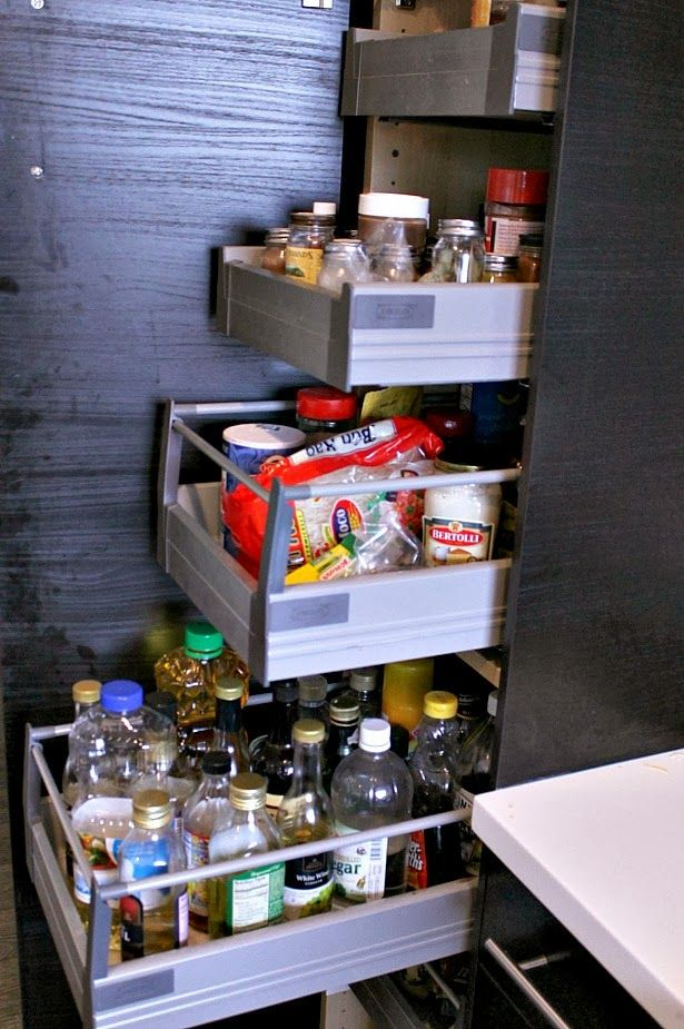 Ikea Tall Pantry Cabinet With Pull Out Shelves So You Can Reach Everything Even At The Back Between Fridge And Stove Discovery Street Our Love