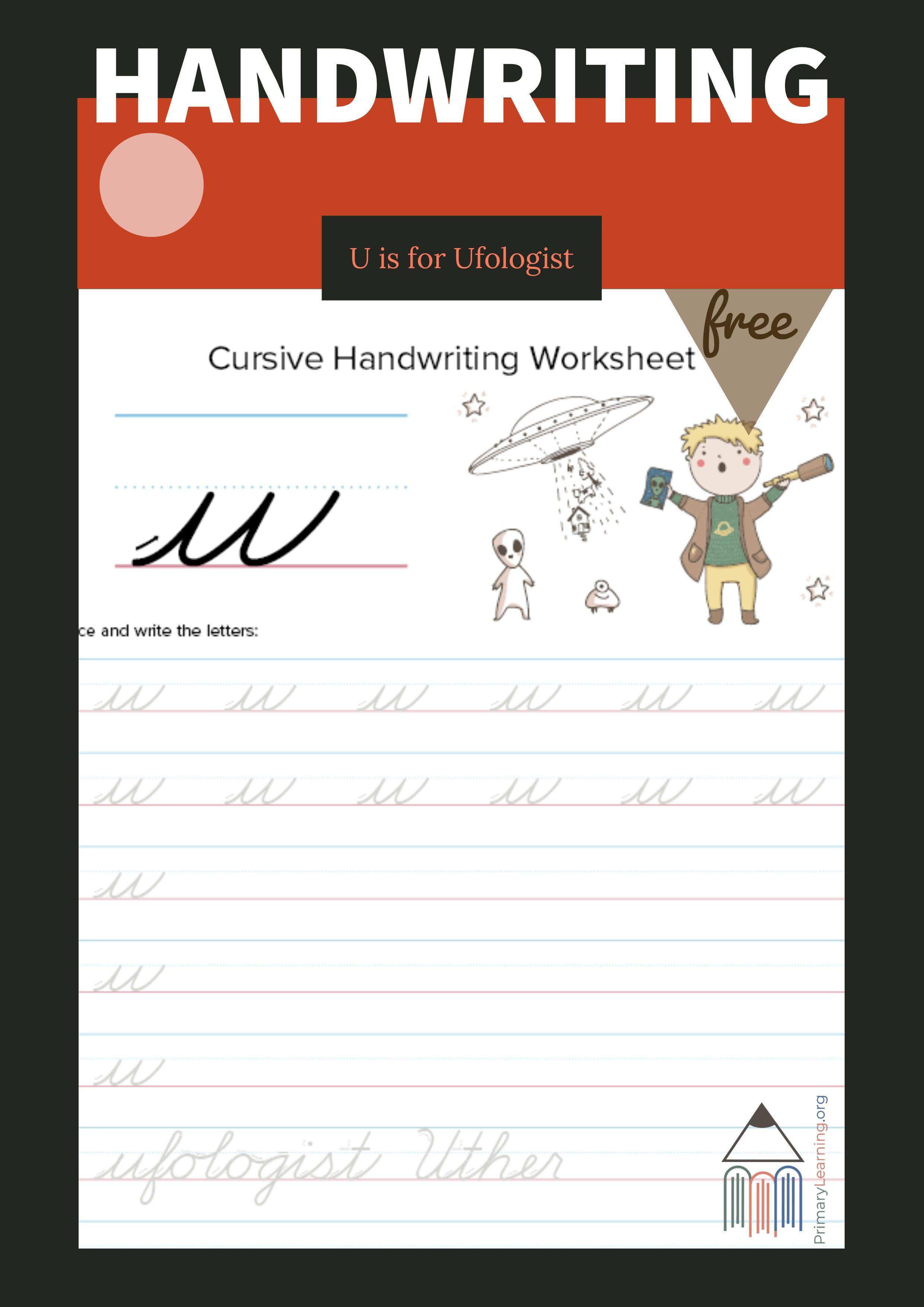 Lowercase Cursive U Worksheet Primarylearning Org Lowercase Cursive Letters Handwriting Worksheets Cursive Handwriting Worksheets