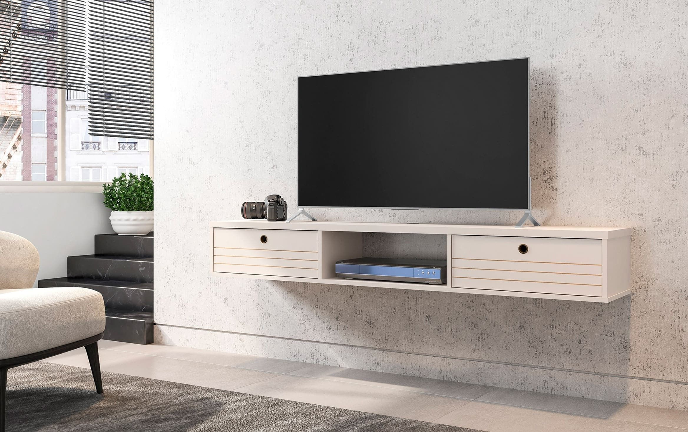 Shiloh Ivory Oak Floating Tv Stand In 2020 Floating Tv Stand Tv Stand Bedroom Tv Stand