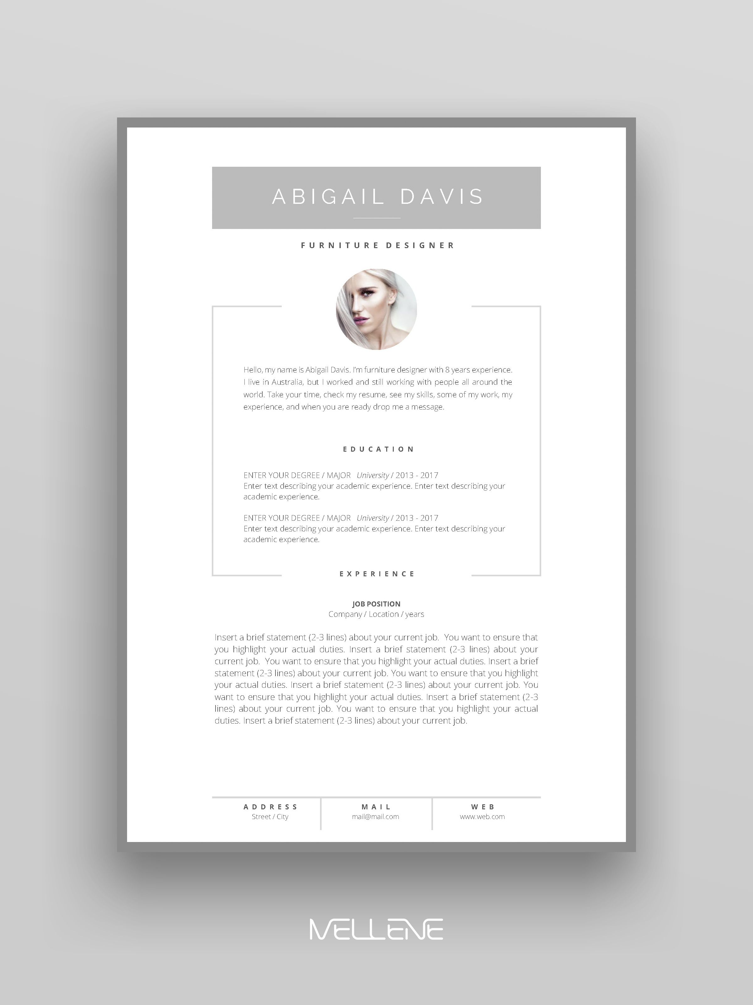 Resume Template 3 Page Cv Template Cover Letter Instant Etsy Personal Branding Design Lettering Personal Branding Logo Design