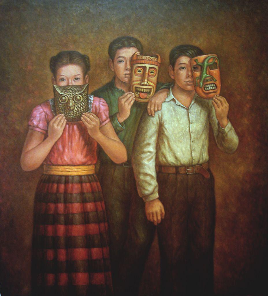 """Niños con máscaras"" óleo/tela Arte mexicano, Arte"