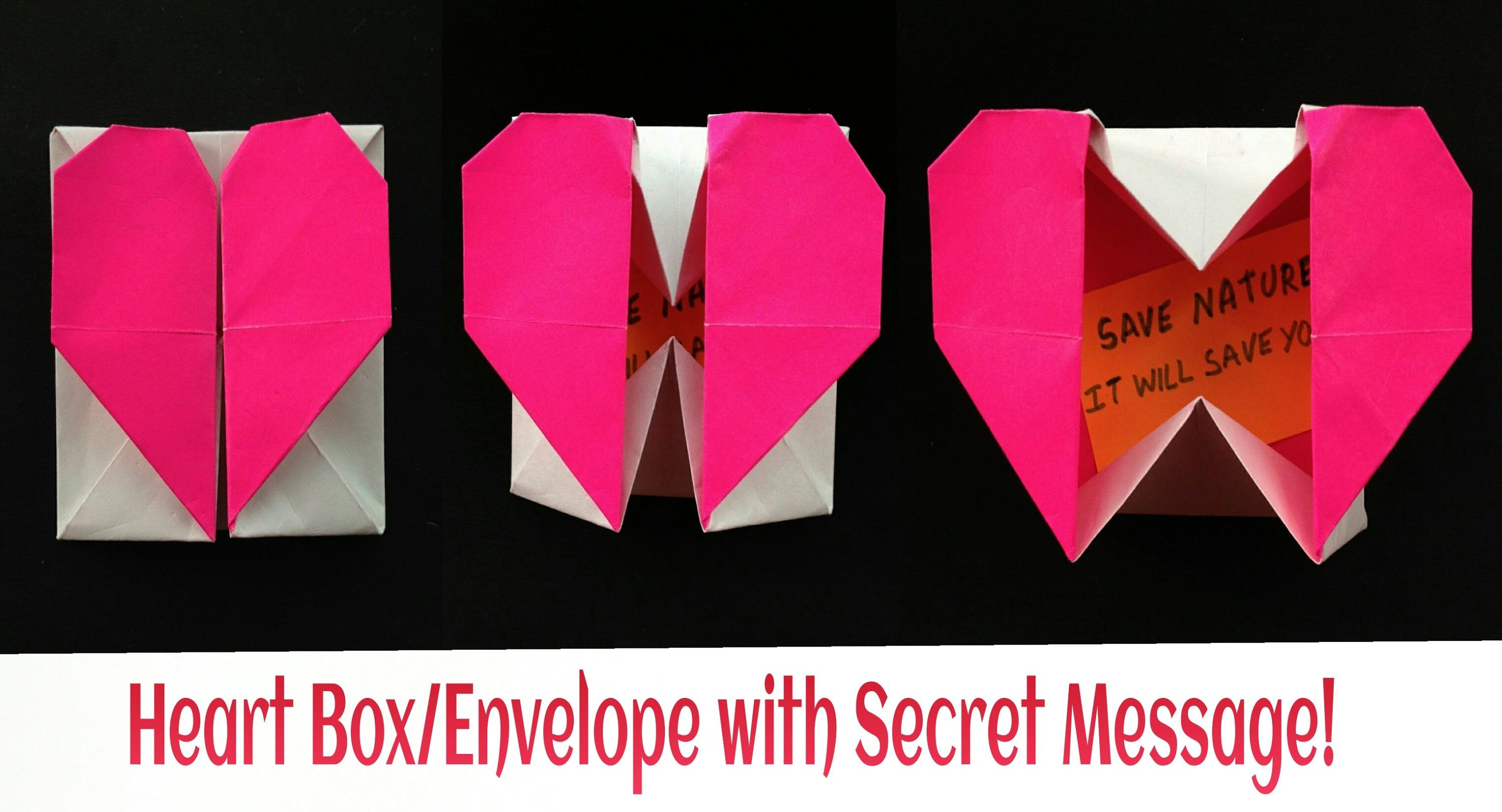 Origami Paper Heart Box Envelope With Secret Message Paper